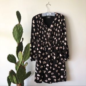 Maeve Anthropologie Black and White Heart Dress